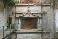 Fireplace, interlocking circles on left