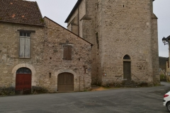 Condat church, with old flour mill on the left.