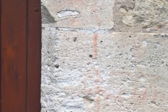Condat old flour mill, daisy wheel, exterior wall