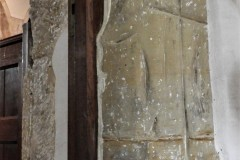 South door, east side, south face. Line possibly cut to make large stone look like two smaller stones.