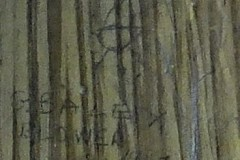 Close up of a creature and names on pannelling.