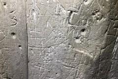 Heavily graffitied panel