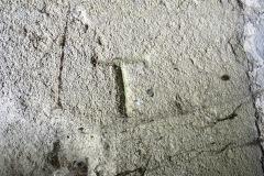 Letter T, NE porch, W side