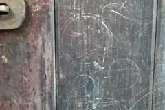 Wooden doors with circles