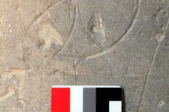 CD04) North rectangular pillar.  A compass drawn cross.