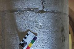 6. Faint damaged cross, south aisle, 1st pillar east of door, east side