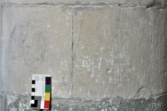 5. Two compass drawn daisy wheels, a compass drawn cross, south aisle, 1st pillar east of door, east southeast side