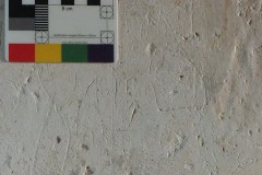 Small piece of script, south aisle, centre pillar, south face
