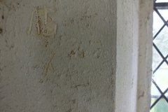 Porch east wall, Initials, AS.