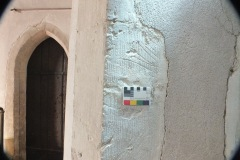 Possible converging lines., north aisle, west pillar, east face