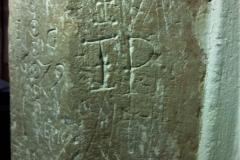 Incised circles, date, Marian, initials IP,  crossed I